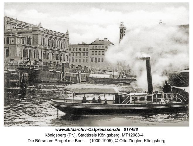 Königsberg, Die Börse am Pregel mit Boot