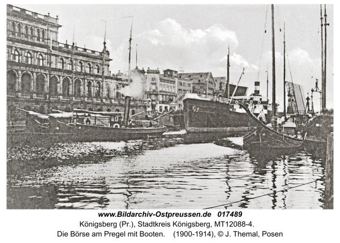 Königsberg, Die Börse am Pregel mit Booten