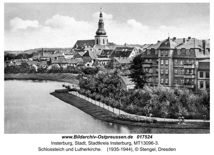 Insterburg, Schlossteich und Lutherkirche