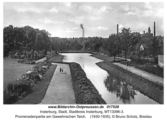 Insterburg, Promenadenpartie am Gawehnschen Teich