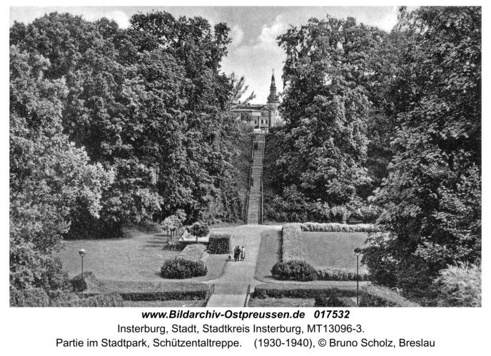 Insterburg, Partie im Stadtpark, Schützentaltreppe