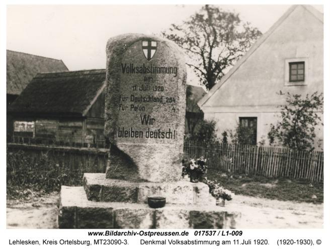 Lehlesken, Denkmal Volksabstimmung am 11.Juli 1920