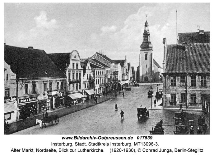 Insterburg, Alter Markt, Nordseite, Blick zur Lutherkirche
