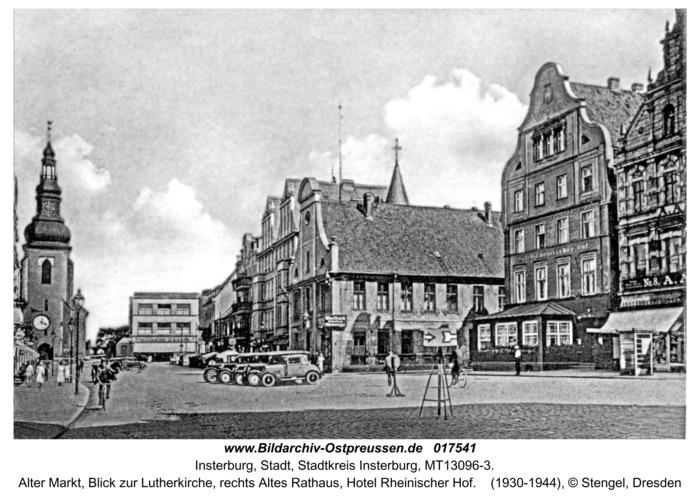 Insterburg, Alter Markt, Blick zur Lutherkirche, rechts Altes Rathaus, Hotel Rheinischer Hof
