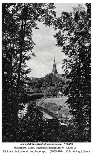 Insterburg, Blick auf die Lutherkirche, Angerapp