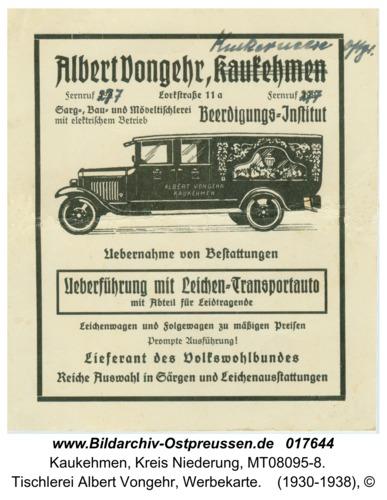 Kuckerneese, Tischlerei Albert Vongehr, Werbekarte