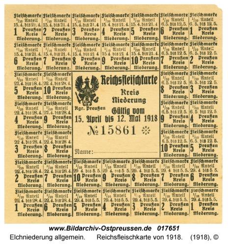 Elchniederung, Reichsfleischkarte von 1918