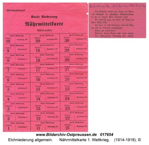 Elchniederung, Nährmittelkarte 1. Weltkrieg