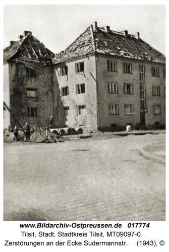 Tilsit, Zerstörungen an der Ecke Sudermannstr.