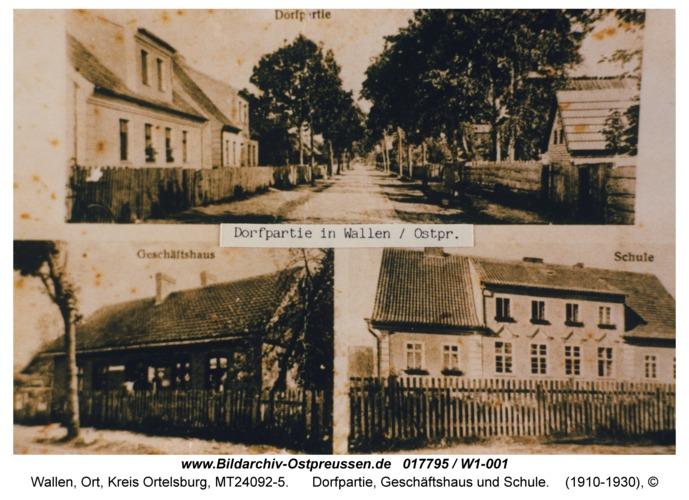 Wallen, Dorfpartie, Geschäftshaus und Schule