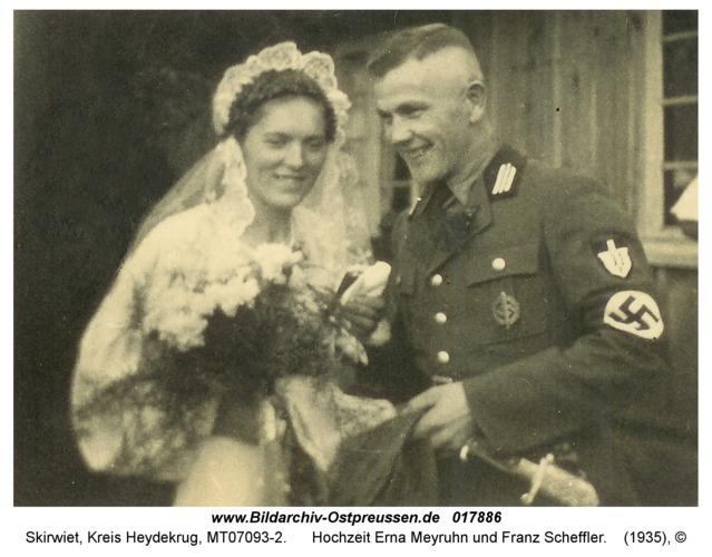 Skirwiet, Hochzeit Erna Meyruhn und Franz Scheffler