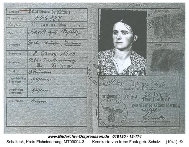 Schalteck, Kennkarte von Irene Faak geb. Schulz
