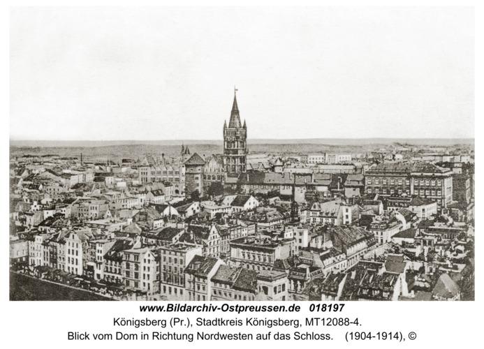 Königsberg, Blick vom Dom in Richtung Nordwesten auf das Schloss