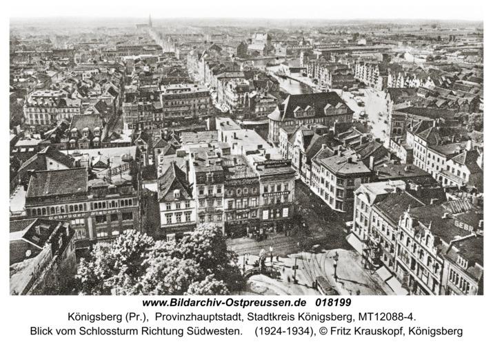 Königsberg, Blick vom Schloßturm Richtung Südwesten