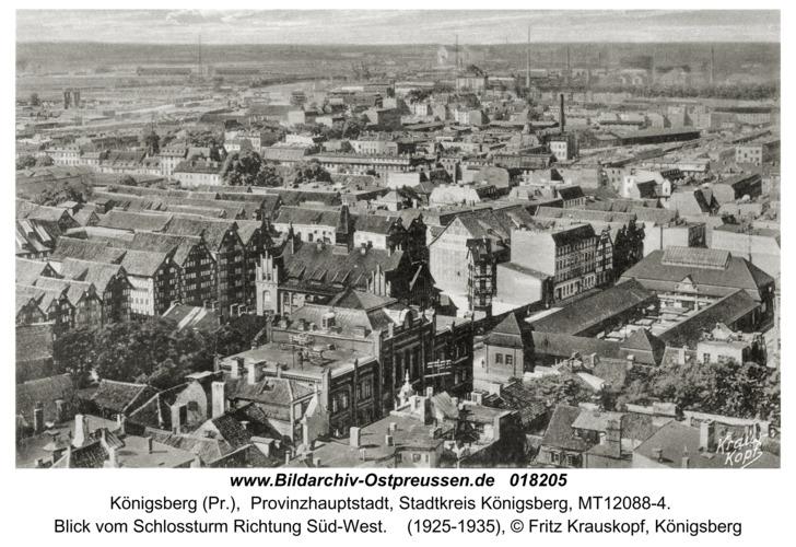 Königsberg, Blick vom Schloßturm Richtung Süd-West