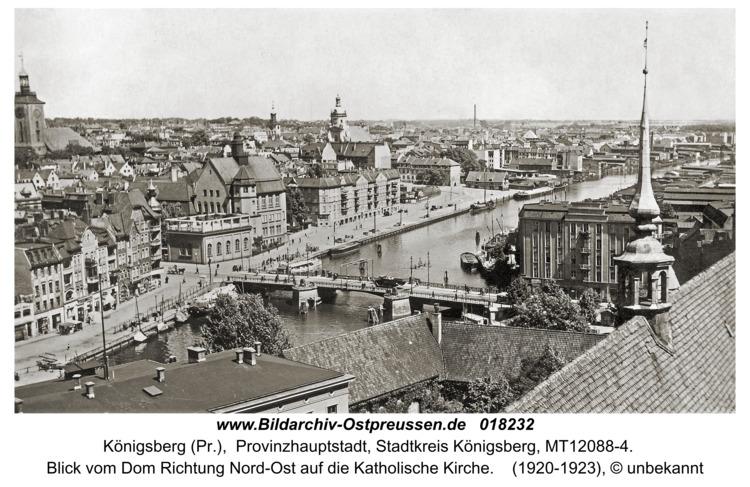 Königsberg, Blick vom Dom Richtung Nord-Ost auf die Katholische Kirche