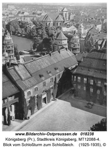 Königsberg, Blick vom Schloßturm zum Schloßteich