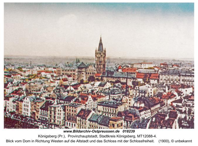 Königsberg, Blick vom Dom in Richtung Westen auf das Schloss