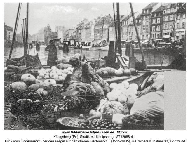 Königsberg, Blick vom Lindenmarkt über den Pregel auf den oberen Fischmarkt