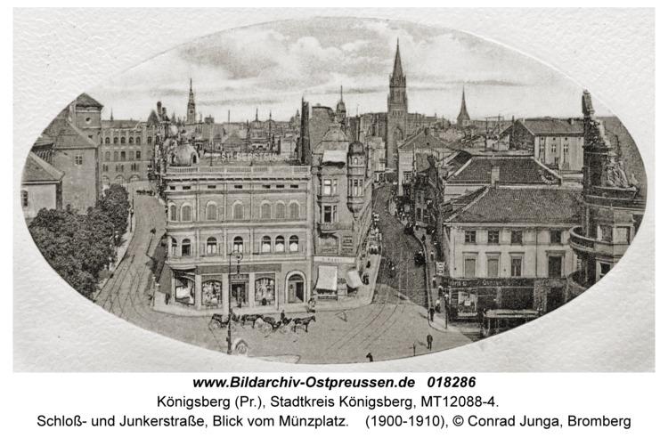Königsberg, Schloß- und Junkerstraße, Blick vom Münzplatz
