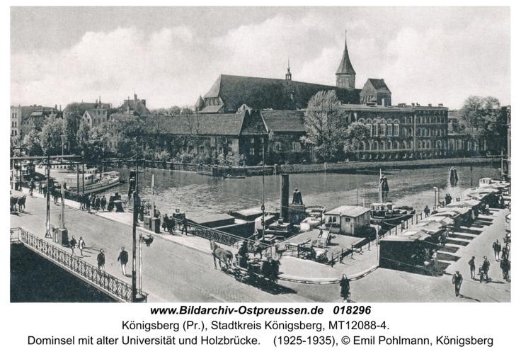 Königsberg, Dominsel mit alter Universität und Holzbrücke