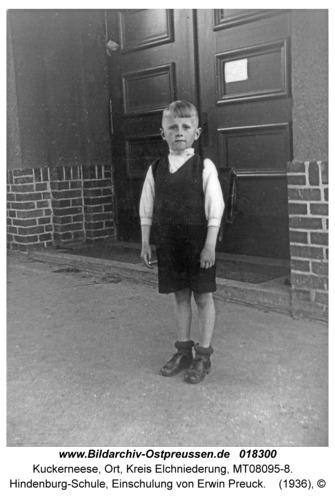 Kuckerneese, Hindenburg-Schule, Einschulung von Erwin Preuck