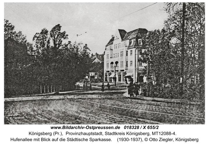 Königsberg, Hufenallee mit Blick auf die Städtische Sparkasse