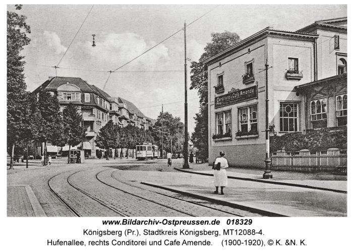 Königsberg, Hufenallee, rechts Conditorei und Cafe Amende