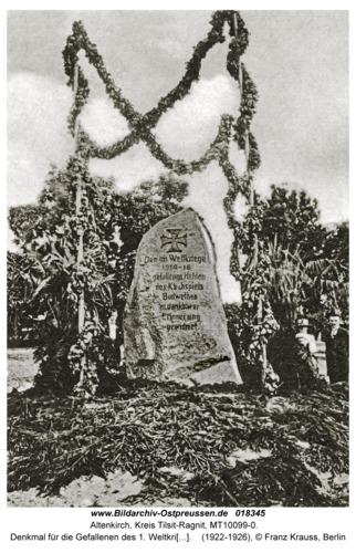 Altenkirch fr. Budwethen, Denkmal für die Gefallenen des 1. Weltkrieges