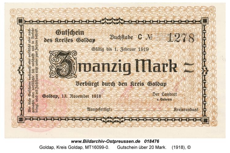 Goldap, Gutschein über 20 Mark