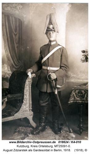 Kutzburg, August Zdziarstek als Gardesoldat in Berlin, 1918
