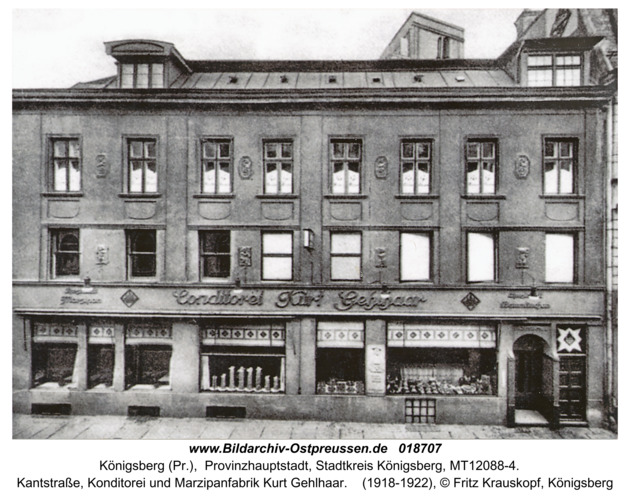Königsberg, Kantstraße, Konditorei und Marzipanfabrik Kurt Gelhaar