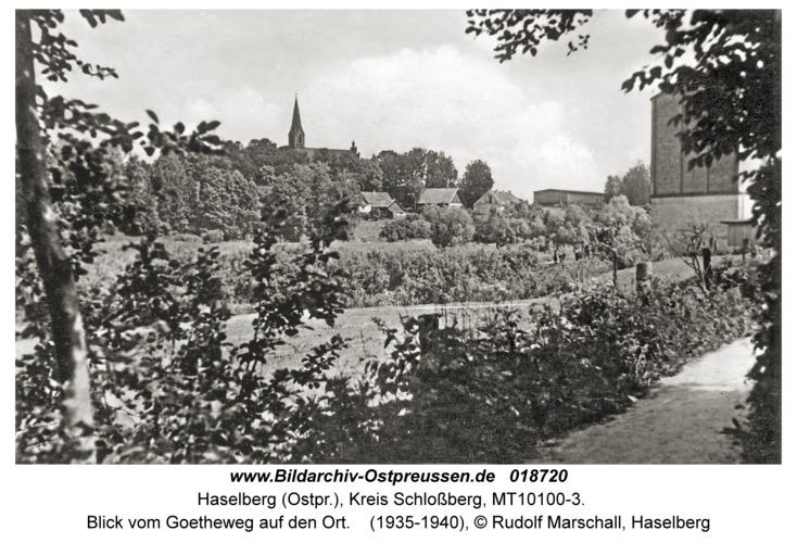 Haselberg (Ostpr.), Blick vom Goetheweg auf den Ort