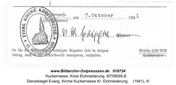 Kuckerneese, Dienstsiegel Evang. Kirche Kuckerneese Kr. Elchniederung