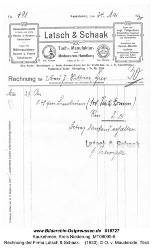 Kuckerneese, Rechnung der Firma Latsch & Schaak