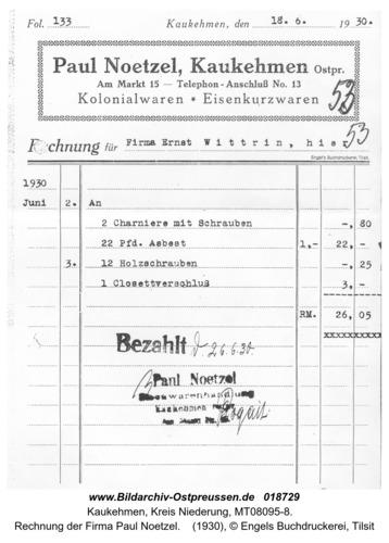 Kuckerneese, Rechnung der Firma Paul Noetzel