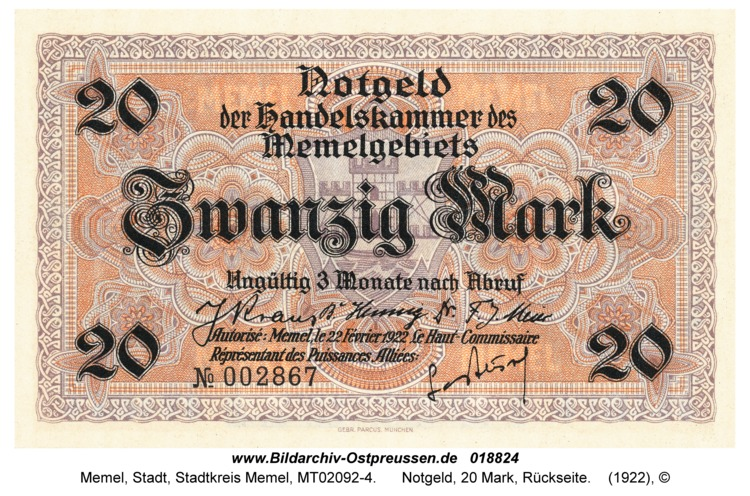 Memel, Notgeld, 20 Mark, Rückseite