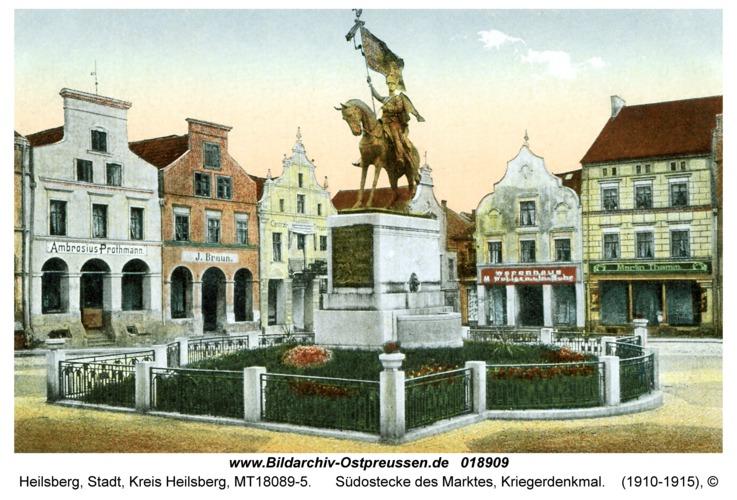 Heilsberg, Südostecke des Marktes, Kriegerdenkmal