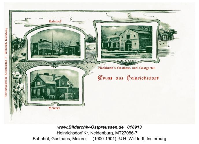 Heinrichsdorf Kr. Neidenburg, Bahnhof, Gasthaus, Meierei