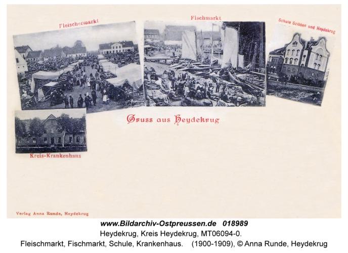 Heydekrug, Fleischmarkt, Fischmarkt, Schule, Krankenhaus