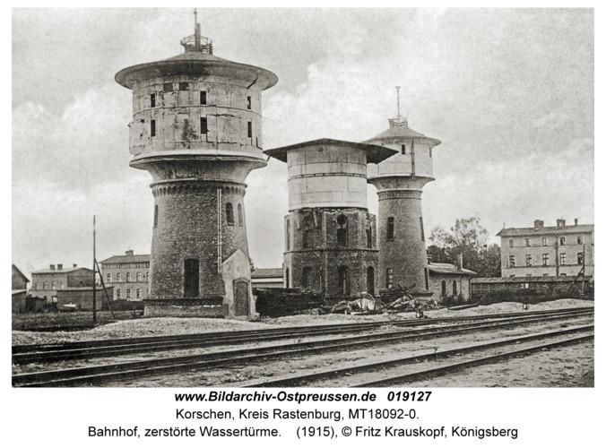 Korschen, Bahnhof, zerstörte Wassertürme