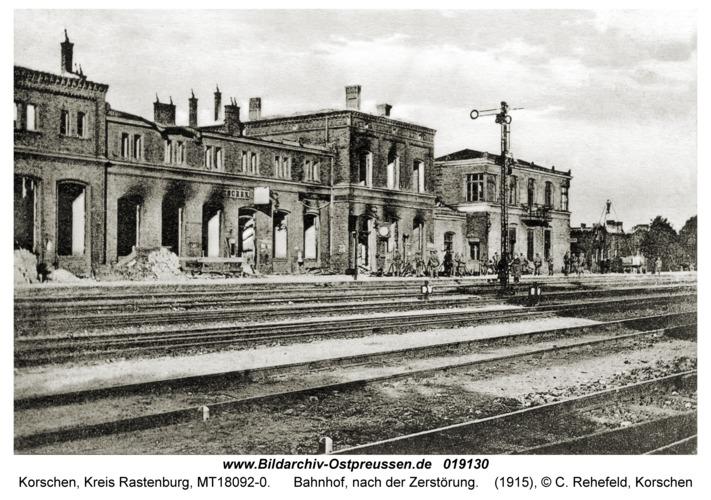 Korschen, Bahnhof, nach der Zerstörung