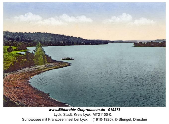Lyck, Sunowosee mit Franzoseninsel bei Lyck