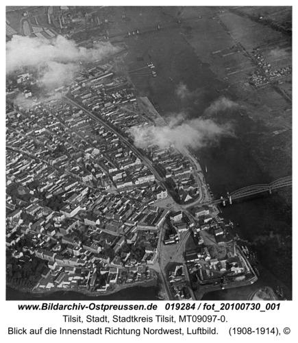 Tilsit, Blick auf die Innenstadt Richtung Nordwest, Luftbild
