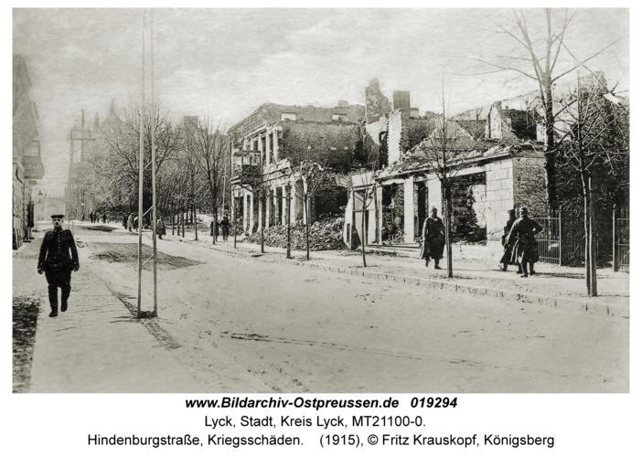 Lyck, Hindenburgstraße, Kriegsschäden