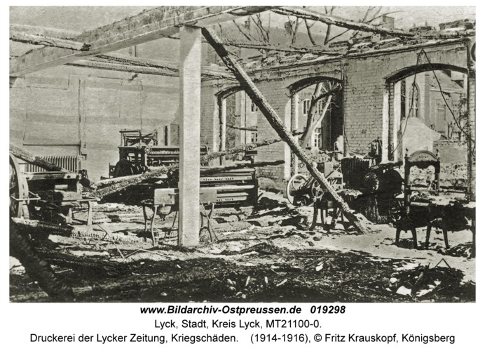 Lyck, Druckerei der Lycker Zeitung, Kriegschäden