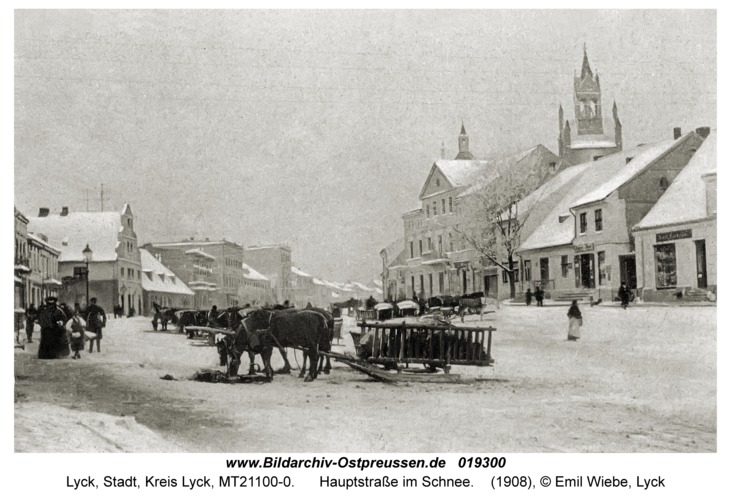 Lyck, Hauptstraße im Schnee