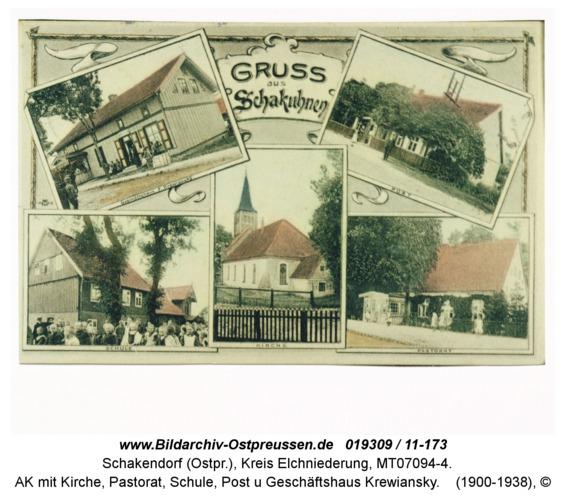 Schakendorf, AK mit Kirche, Pastorat, Schule, Post u Geschäftshaus Krewiansky
