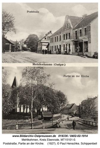 Birkenmühle fr. Mehlkehmen, Poststraße, Partie an der Kirche