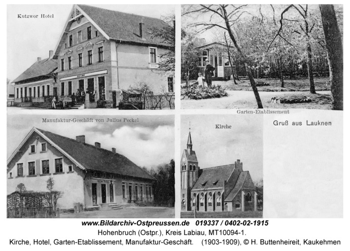 Hohenbruch (Ostpr.), Kirche, Hotel, Garten-Etablissement, Manufaktur-Geschäft